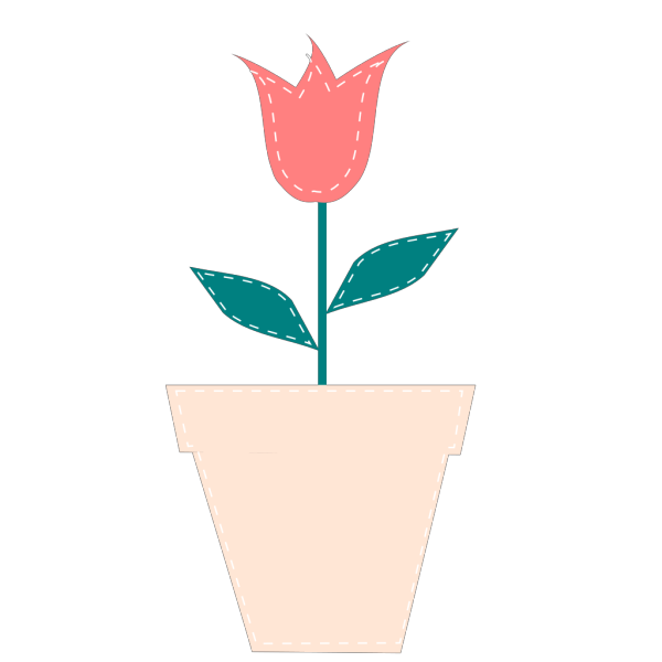 Tulip In Flower Pot Pastel PNG Clip art