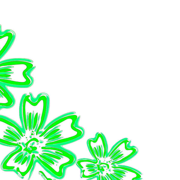 Three Flowers Green PNG Clip art