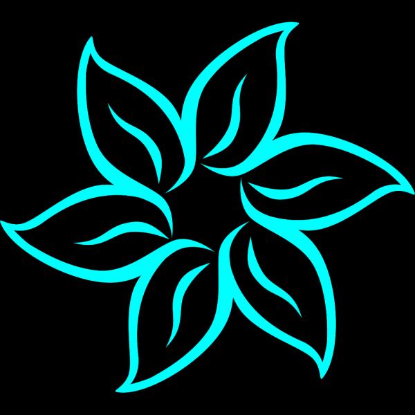 Aqua Flower Outline PNG Clip art
