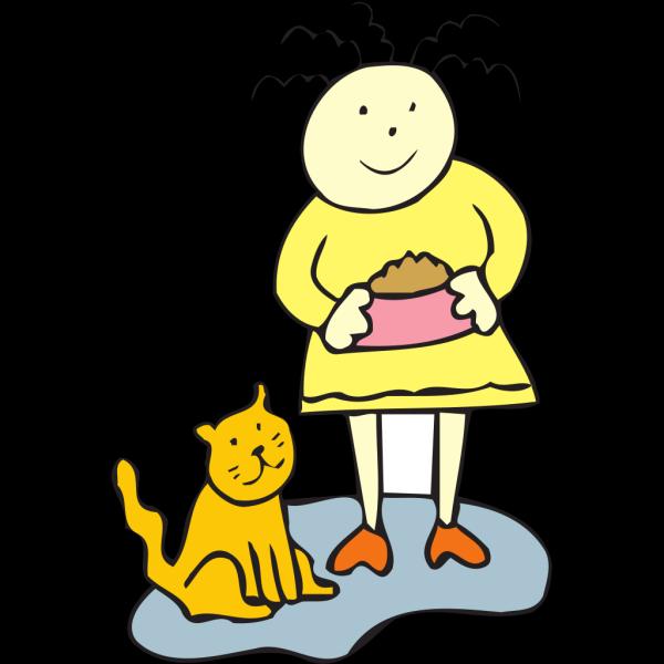 Girl Feeding Her Cat PNG Clip art