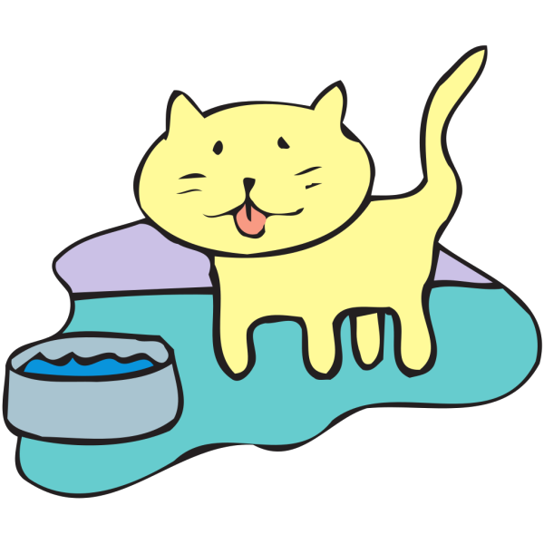 Cat And Water Bowl PNG images