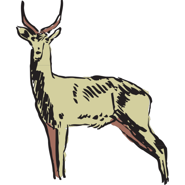 Green Antelope Drawing PNG Clip art