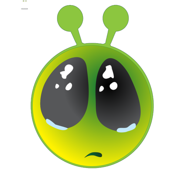 Smiley Green Alien Big Eyes PNG Clip art
