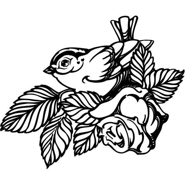 Bird With Rose PNG Clip art