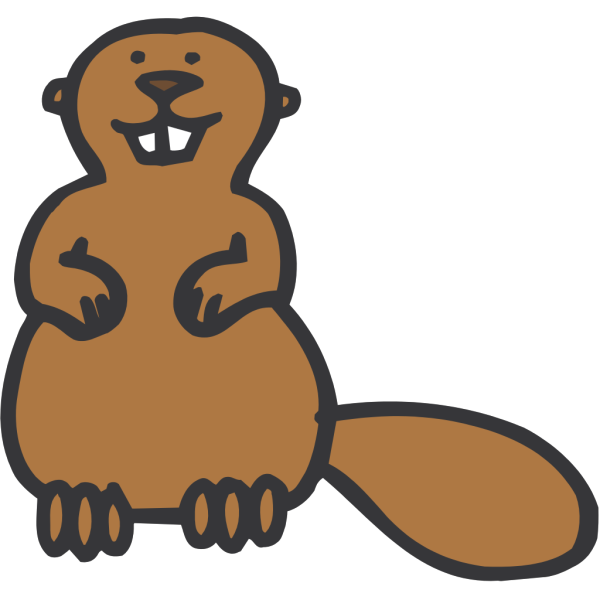 Simple Beaver Cartoon PNG Clip art