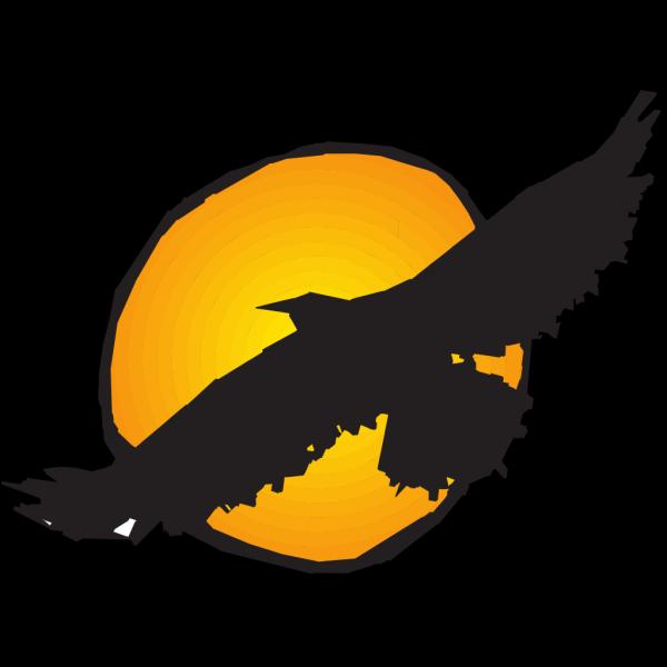 Hawk Silhouette Flying Near Sun PNG Clip art