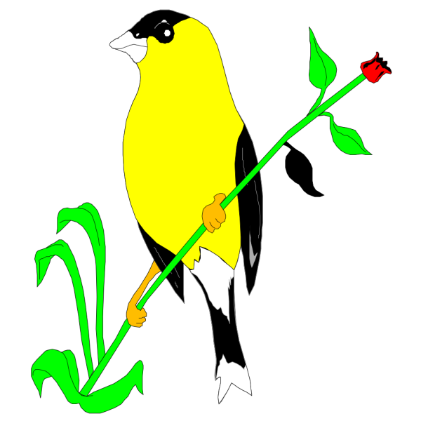 Goldfinch On A Flower Stem PNG Clip art