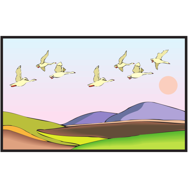 Geese Flying With Sunset PNG Clip art