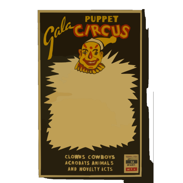 Gala Puppet Circus Clowns, Cowboys, Acrobats, Animals, And Novelty Acts. PNG image