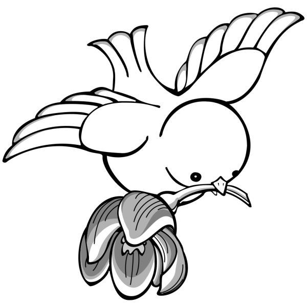 Bird Flying With Flower PNG Clip art