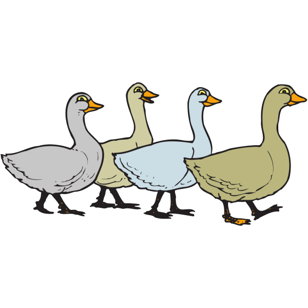 Geese Walking In A Line PNG Clip art
