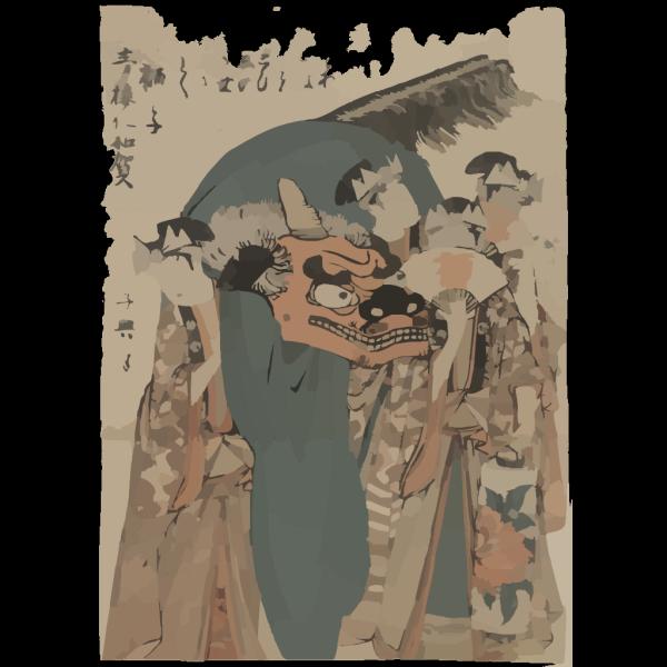 Four Actors Carrying A Lion Costume, Fans, And A Lantern PNG Clip art