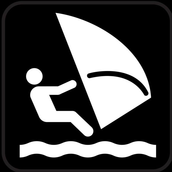 Wind Surfing Black PNG Clip art