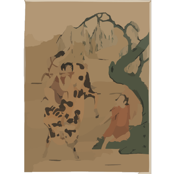 Boys Riding Black Cow PNG images