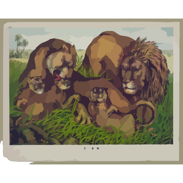 The Lion Family PNG Clip art