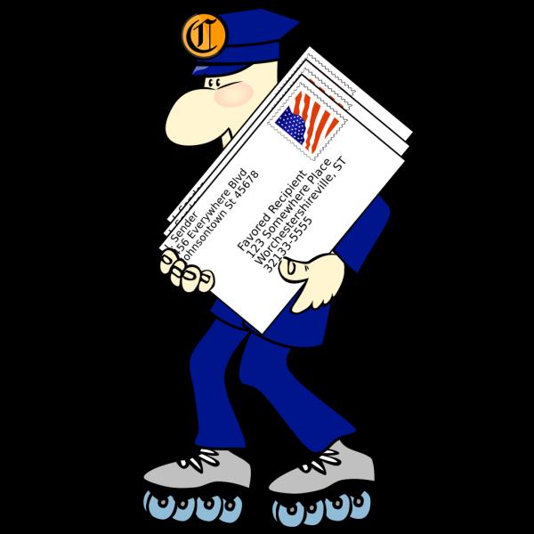 Postman Wearing Skates PNG Clip art