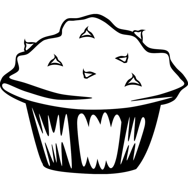 Double Chocolate Muffin (b And W) PNG images