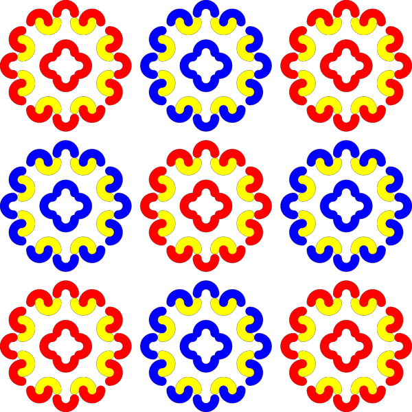 Blue And Red Tile Decoration PNG Clip art