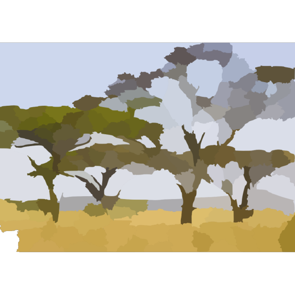 Landscape With Abstract Trees PNG Clip art