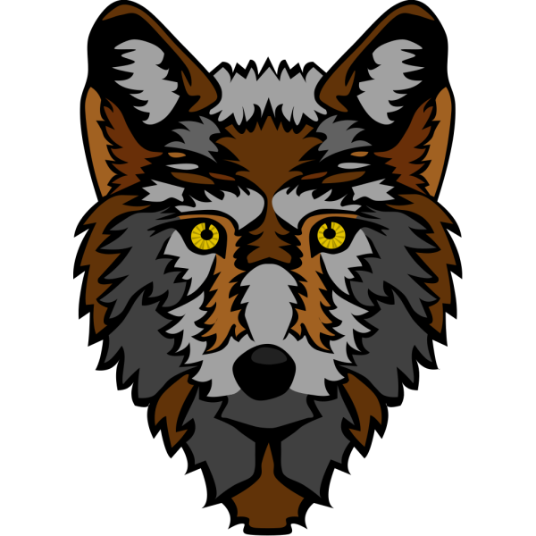 Brown And Gray Wolf Head PNG Clip art