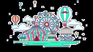 Amusement Park Background PNG PNG icon