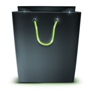 Black Glossy Green Handle Shopping Bag PNG PNG Clip art