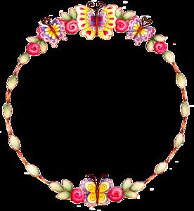 Floral Round Frame Transparent Background PNG Clip art