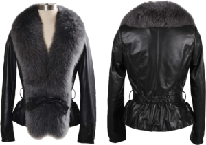 Fur Lined Leather Jacket PNG File PNG Clip art