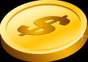 Gold Dollar Transparent Background PNG Clip art