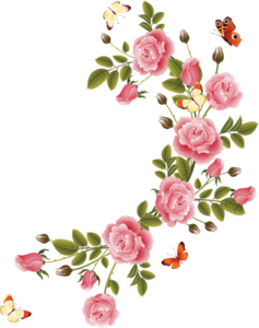 Romantic Pink Flower Border PNG File PNG Clip art