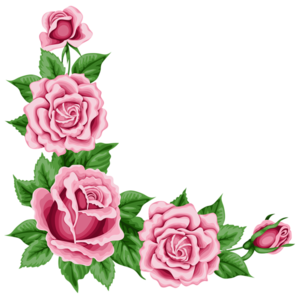Romantic Pink Flower Border Transparent PNG PNG Clip art