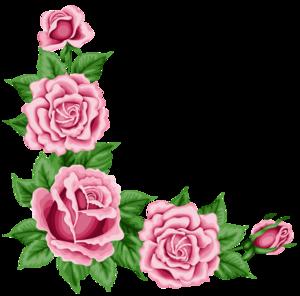 Romantic Pink Flower Border Transparent PNG PNG Clip art