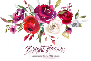 Watercolor Flowers PNG Clipart Background PNG Clip art