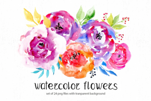 Watercolor Flowers PNG Free Image PNG icon