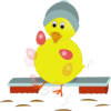 Easter Chick Kicking Eggs icon png