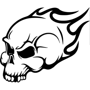 Flaming Skull Wall Art Sticker icon png
