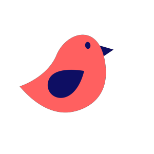 Coral And Navy Bird icon png