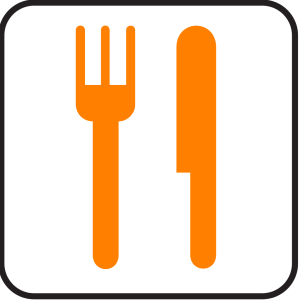 Orange Knife And Fork icon png
