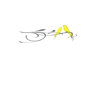 Yellow Love Birds On Branch icon png
