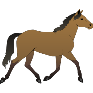 Trotting Brown Horse