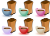 Coffee Cups And Bean icon png