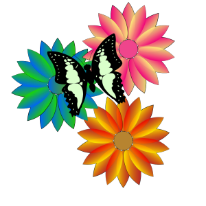 Butterfly And Flowers icon png