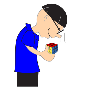 Man Holding Rubric Cube Toy icon png