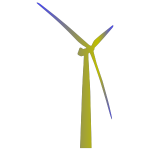 Wind Turbine Shaded Green And Blue icon png