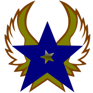 Blue Star With 1 Gold Star And Wings icon png