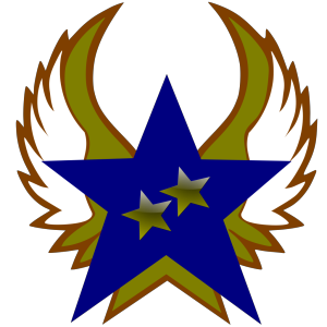 Blue Star With 2 Gold Star And Wings icon png