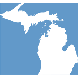 Michigan, Solid White, Light Blue Background icon png