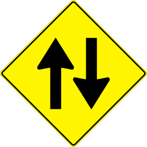 Paulprogrammer Yellow Road Sign Two Way Traffic icon png