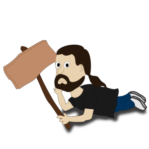 Comic Character Holding A Sign icon png