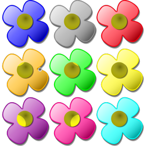 Colored Flowers icon png